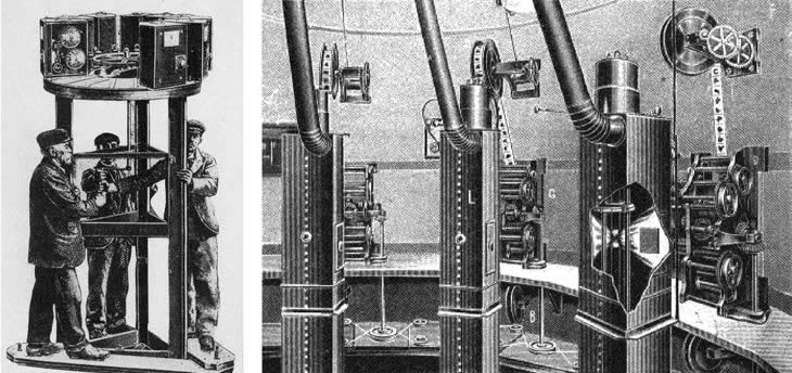 Съемочная камера (слева) и киноаппаратная «Синеорамы» (справа)