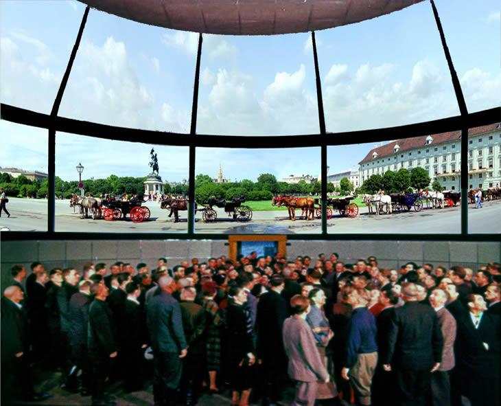 Демонстрация  кругорамного фильма «На Венском фестивале» на 22 экранах